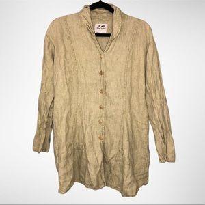 Flax Button-Down 100% Linen Pocket Tunic Top
